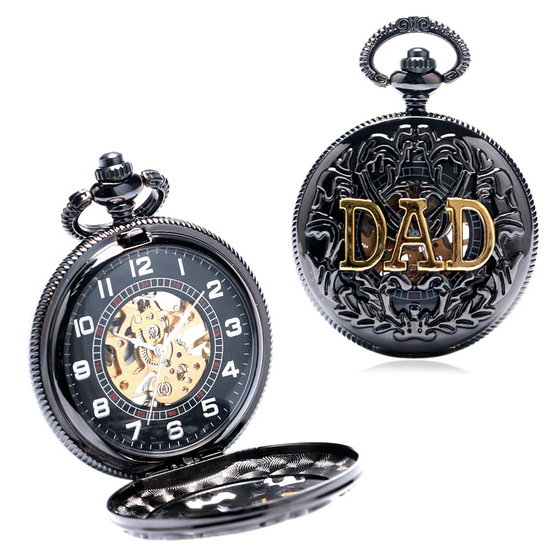 Black Cool DAD Theme Hollow Case Skeleton Dial Steampunk Mechanical Pocket Watch With Necklace Best Gift To Dad Father