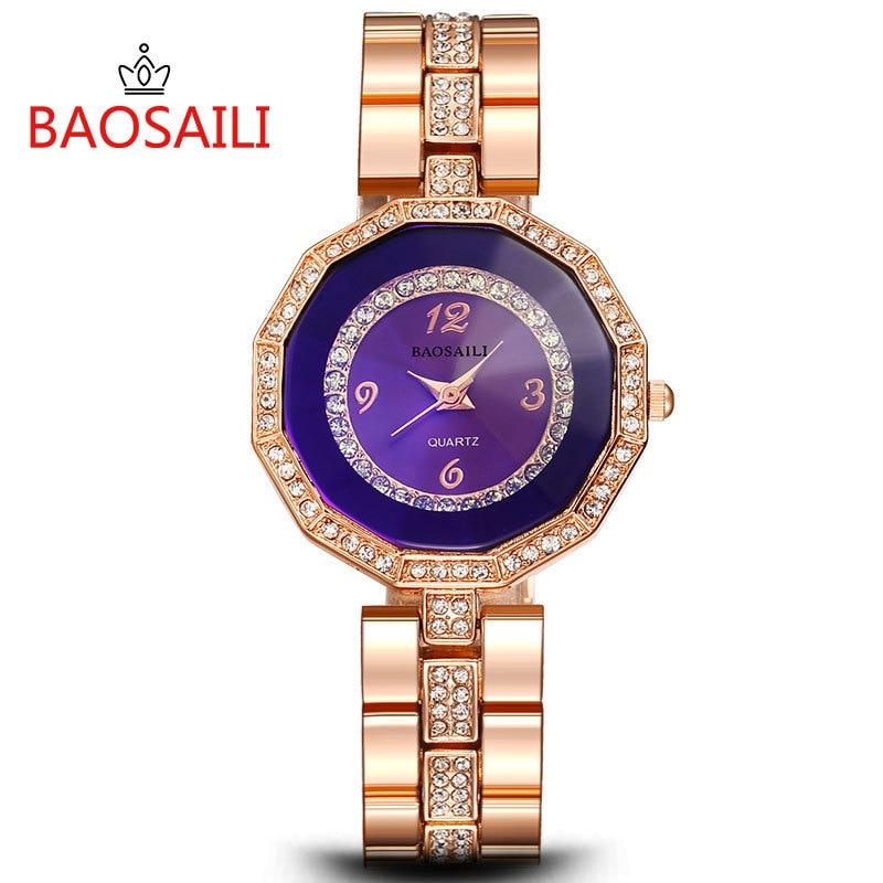BSL967 BAOSAILI Brand Quartz Watch Women Stainless Steel High Quality Gold Plated Ladies Diamond Relojes Luxury Wrist Watch boss bsl 25 brn