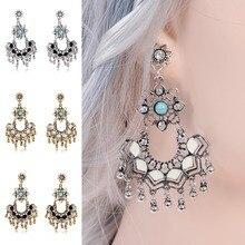 4 Colors Vintage Beads Tassel Drop Earrings For Women Alloy Hollow Pierced Dangle Earrings 2019 New цена