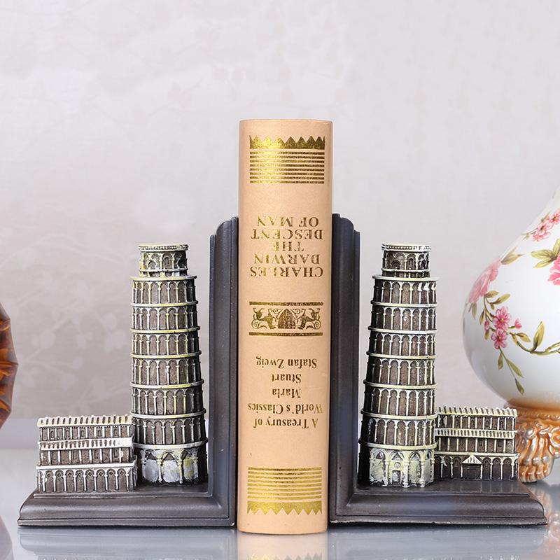 Creative resin office vintage statue home decor crafts room decoration objects study Leaning Tower of Pisa bookend ornamentsCreative resin office vintage statue home decor crafts room decoration objects study Leaning Tower of Pisa bookend ornaments