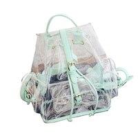 Women Clear PVC Backpack Trend Tote Jelly Fashion Transparent Plastic Bag Travel Backpack 2018 Summer Hot Sale Hologram Rucksack