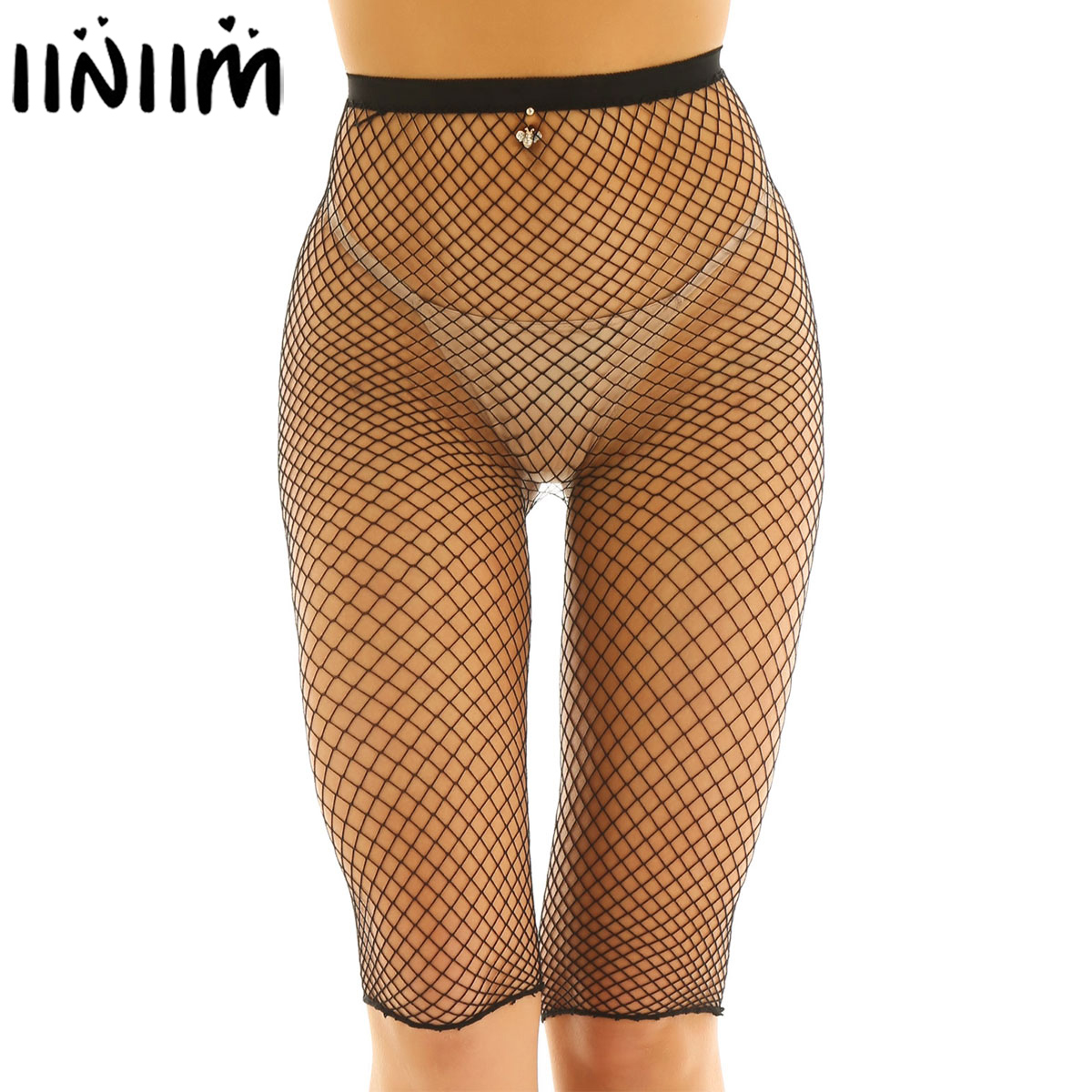 Womens Fishnet Exotic Pants <font><b>Transparent</b></font> See Through <font><b>Sexy</b></font> Underwear Tights High Waisted <font><b>Legging</b></font> Half Pants for Night Clubwear image