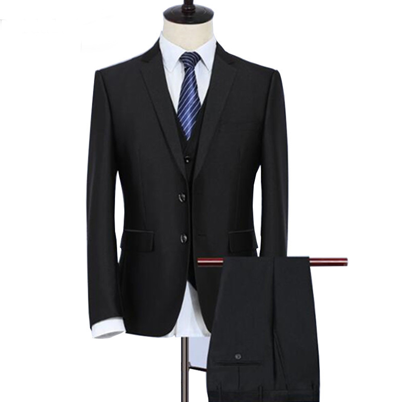 Black Business Formal Men Suits For Groom Party Wear 3 Piece Male Set Jacket Pants Vest Notched Lapel Wedding Tuxedos