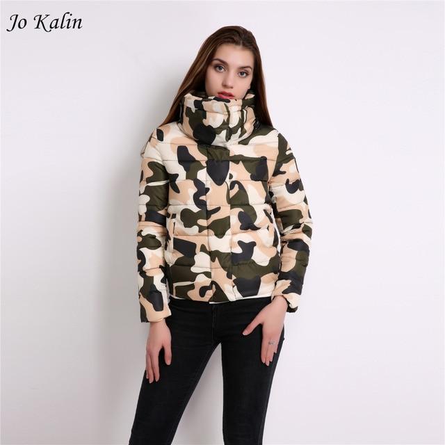 Snow wear wadded jacket female 2018 autumn women slim short cotton padded coat Camouflage outerwear winter coats manteau femme