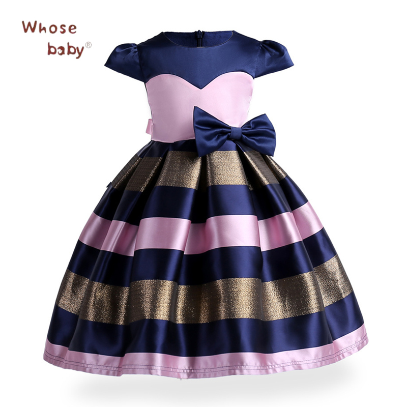 Christmas Costumes For Girls Stripe Bow Princess Girls Dresses 2018 New Year Party Wedding Children Clothing Infant Kids Clothes christmas international children s day costumes girls dresses for princess new year birthday dress snow queen kids clothes