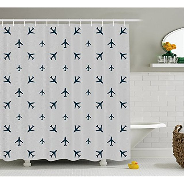 Vixm Airplane Shower Curtain Diagonal Stripes With Blue Travel Icons Silhouettes Vacation Aviation Fabric Bath Curtains