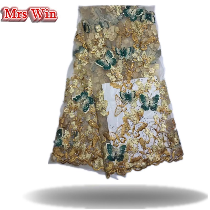 Gorgeous hot sale Beautiful butterfly patterns african guipure flower handmake beaded rheistons lace fabric for wedding dress