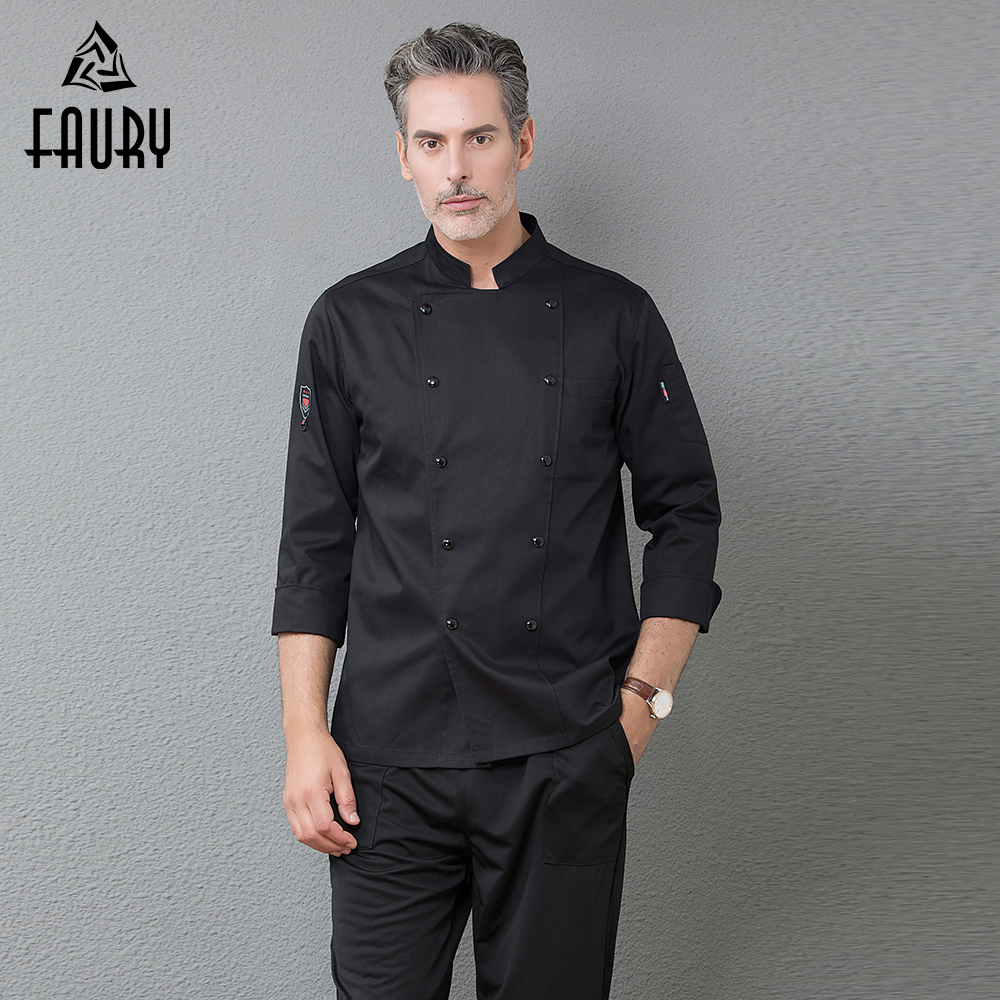 Chef Clothes Long Sleeve Uniform Restaurant Kitchen Cooking Chef Coat Waiter Work Jackets Professional Uniform Overalls Outfit