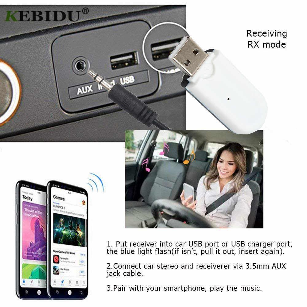 KEBIDU سماعة لاسلكية تعمل بالبلوتوث 4.0 محول USB بلوتوث استقبال 3.5 مللي متر الصوت جاك دونغل A2DP 5 فولت ل مكبر صوت للسيارة AUX أندرويد/IOS