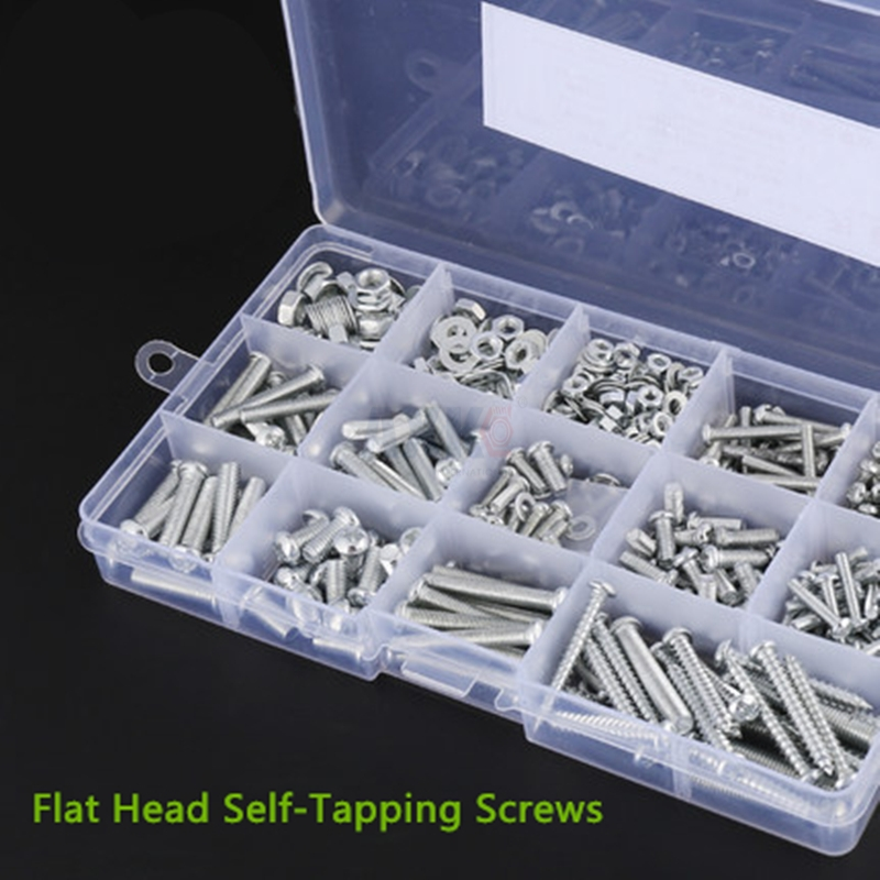 Screw Box Axk 1set M2 Hex Socket Cross Drive Flat Head Self-tapping Screws Woodworking Fastener With Box Assortment Kit Wood 20pcs m3 6 m3 x 6mm aluminum anodized hex socket button head screw