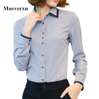 Womens Basic Long Sleeve Button Down Shirt Patchwork Gray White Office Elegant Blouse Ladies Tops Autumn