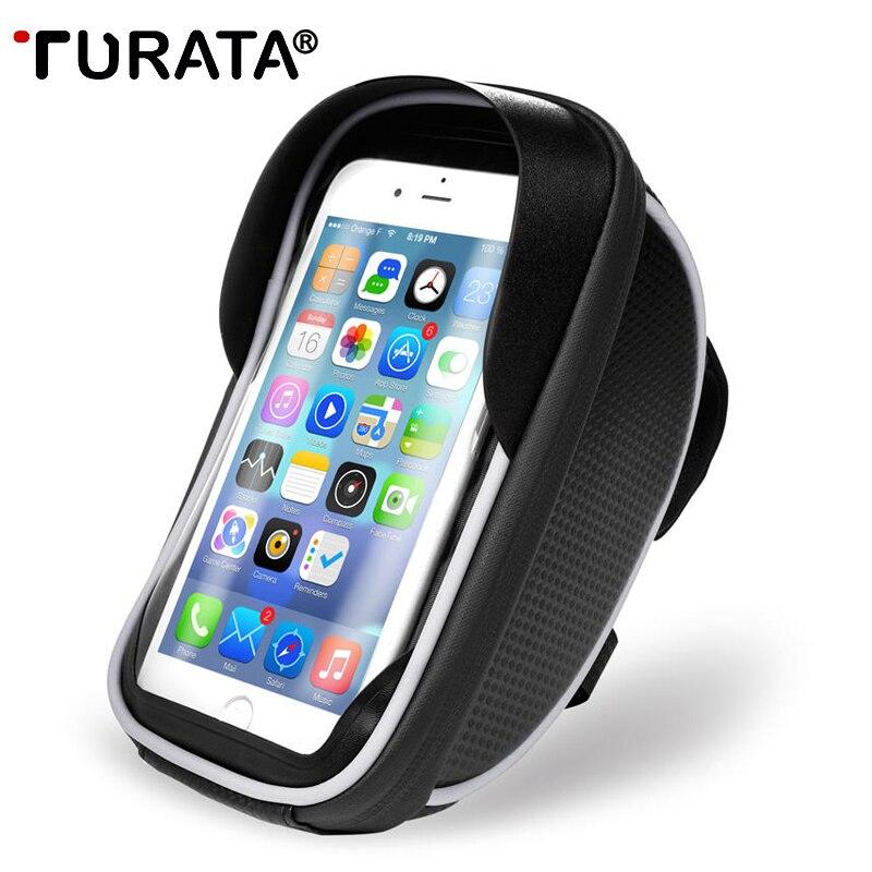 TURATA Supporto Del Telefono Universale Bike Mobile Supporto Del Basamento Del Sacchetto Impermeabile Per il iphone X 8 Più S8 V20 GPS Bicicletta Moto sacchetto del manubrio