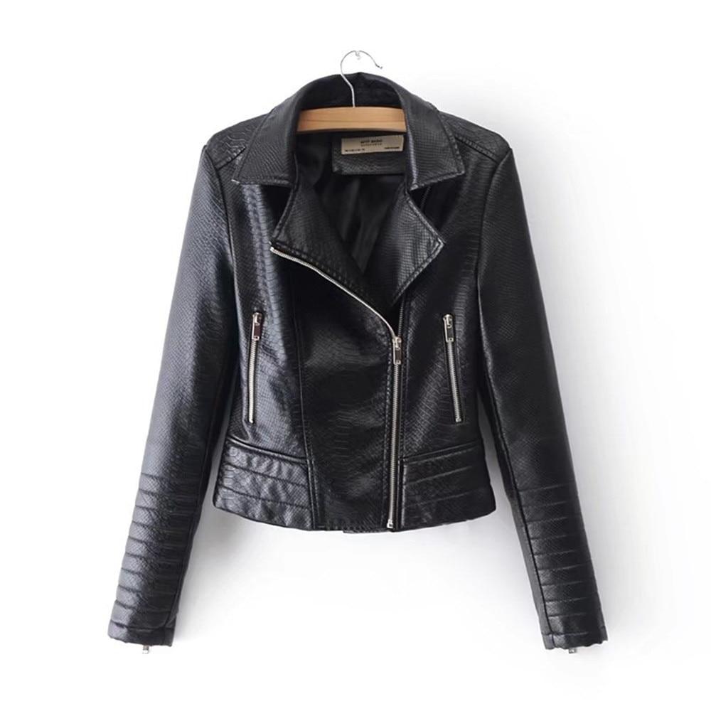 Veste de motard moto courte en simili cuir PU noir dreamcrane pour femme