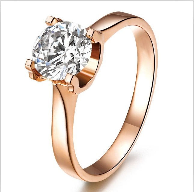 1 Carat Solid Rose Gold Excellent Oxhead Style Synthetic Diamonds