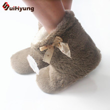 Winter Women Indoor Shoes Non-slip Floor Slippers Plush Soft EVA Sloe At Home Cotton Bota Lovely Bow Female
