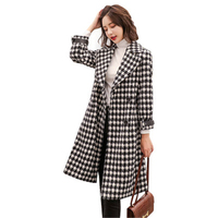 Winter Coat Women Wool Coat Large Size female Argyle Outerwear Slim Single Breasted Patchwork blends Coat Streetwear Coats J721