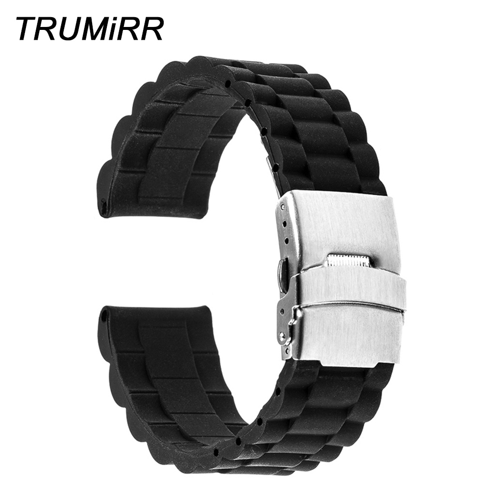 22mm 24mm Rubber Watch Band for Panerai <font><b>PAM</b></font> Luminor Radiomir Stainless Steel Safety Buckle Strap Silicone <font><b>Bracelet</b></font> 3 Pointer image