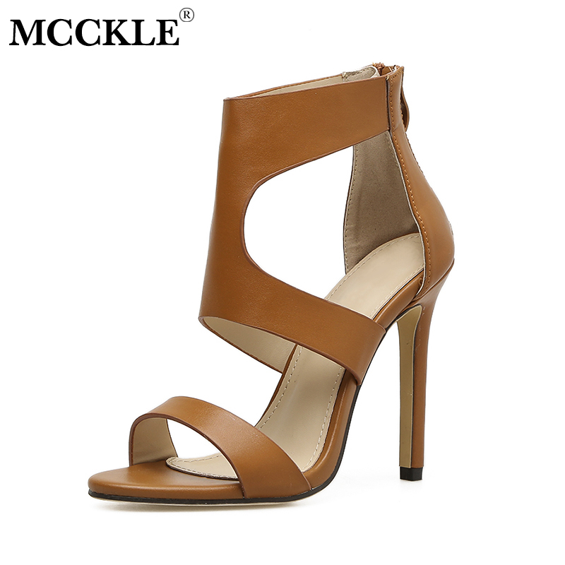 MCCKLE Gladiator Sandals Women Cut Outs Summer High Heels Zipper Female Shoes For Woman Thin Heel Ladies Stilettos