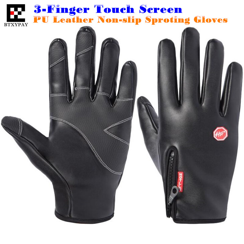 200pair Top-end Unisex Winter Warm Windproof Waterproof PU Leather Gloves,Gold Velvet Neri,Non-slip,3-Finger Touch Screen Gloves