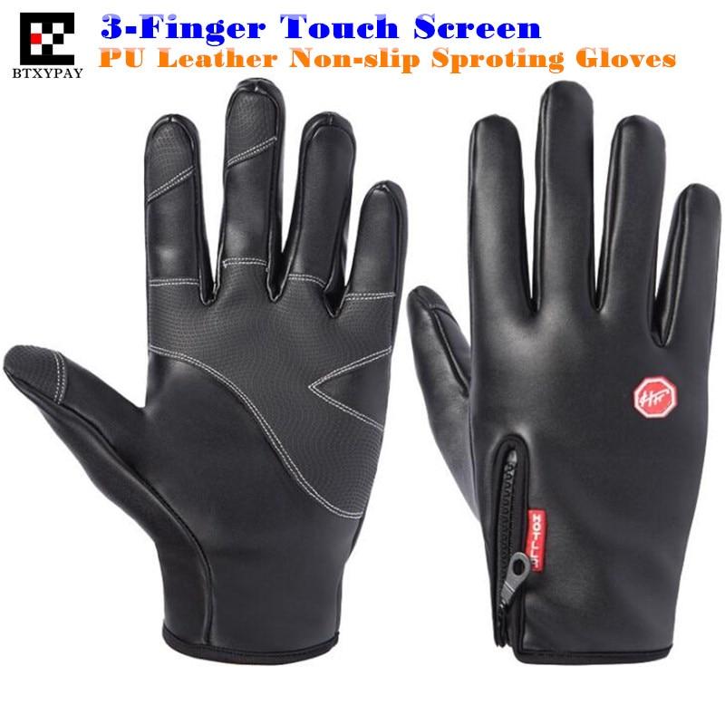 200pair Top-end Unisex Winter Warm Windproof Waterproof PU Leather Gloves,Gold Velvet Neri,Non-slip,3-Finger Touch Screen Gloves
