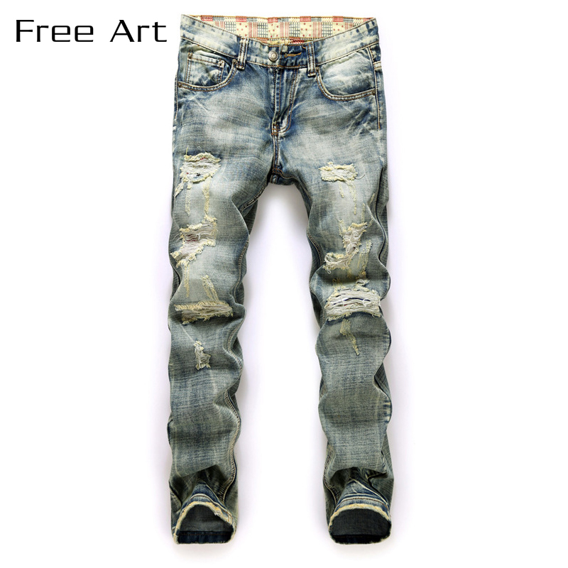American National And Cowboy Pants Slim Straight Mid Medium Stonewashed Full Length Real Top Fashion Jeans Men Fear Of God
