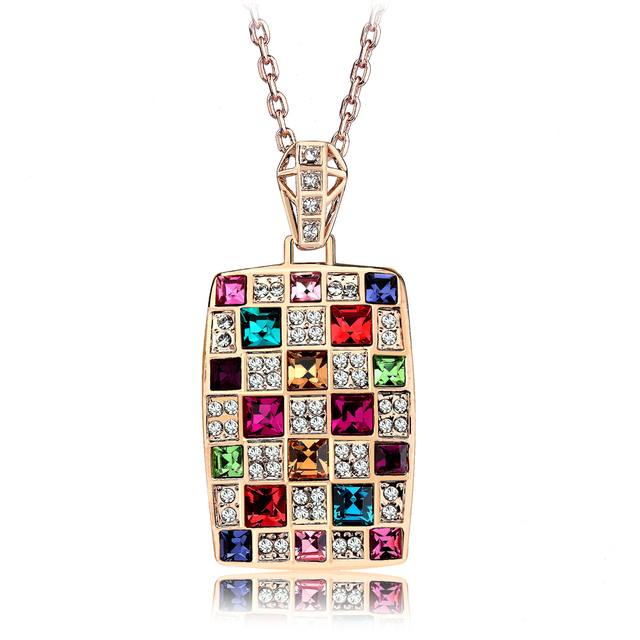 Accessories fashion luxurious queen crystal necklace colorful female short design chain gift