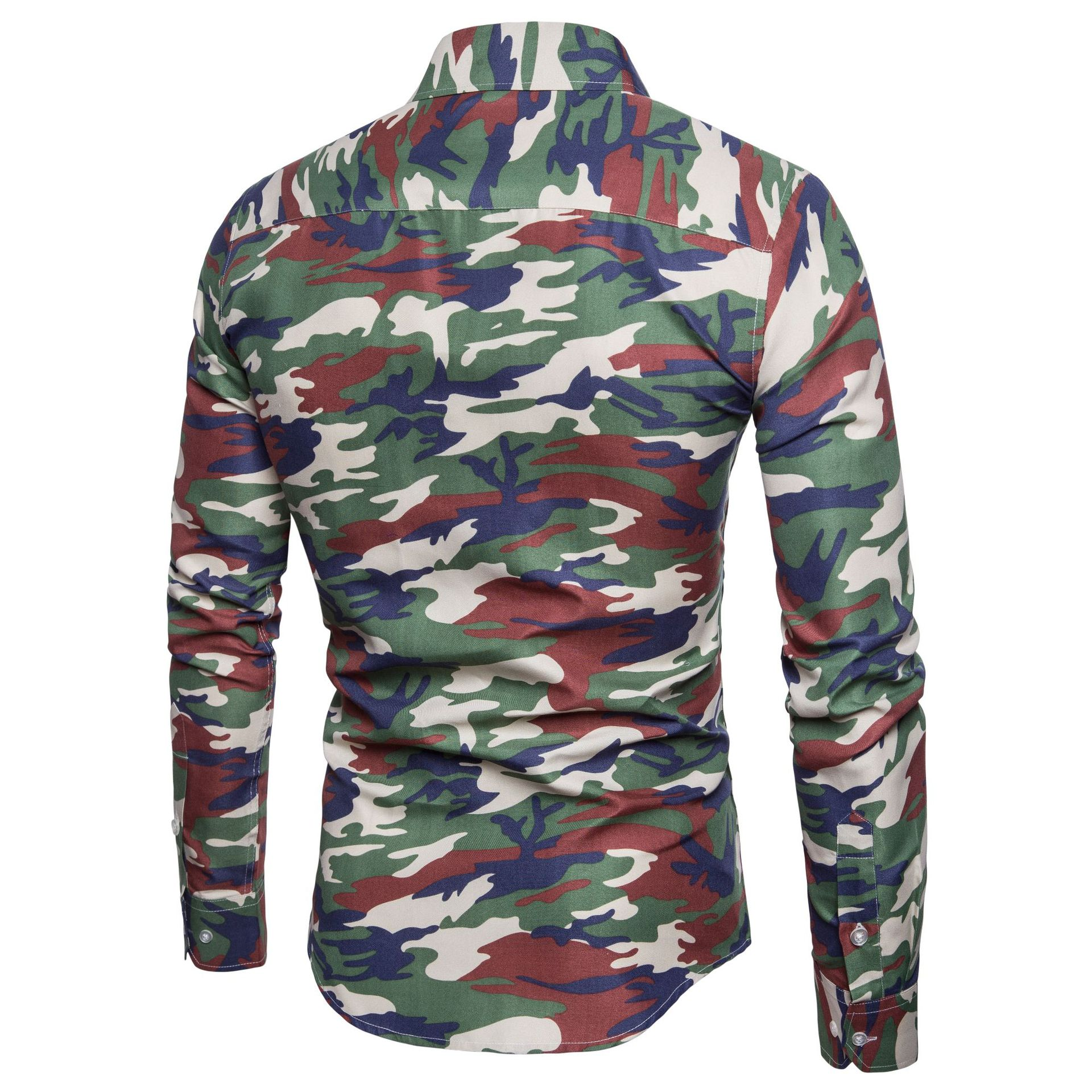 2cc8bedcb Dropshipping Men Shirt 2019 Brand Camouflage Printed Long Sleeve Dress Shirt  Slim Fit Camisa Masculina Casual Men's Clothing-in Casual Shirts from Men's  ...