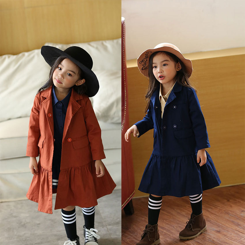 ФОТО Fashion Baby Girls Coat Children Cotton Clothes Trun-down Collar Spring Autumn Double layers Jackets Toddler Girls Trench lovely