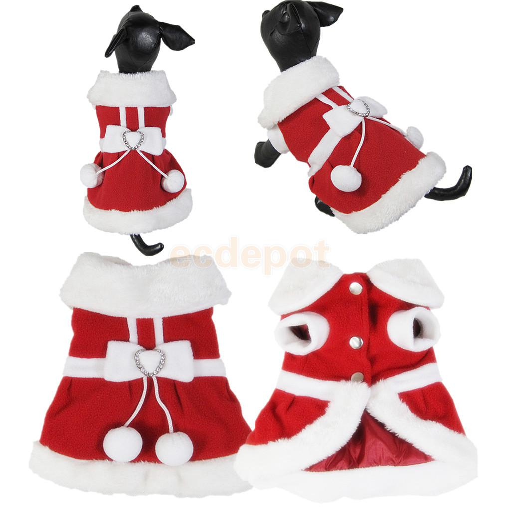Pet Dog Christmas Santa Claus Model Dress Polyester Coat Cloth Puppy Apparel