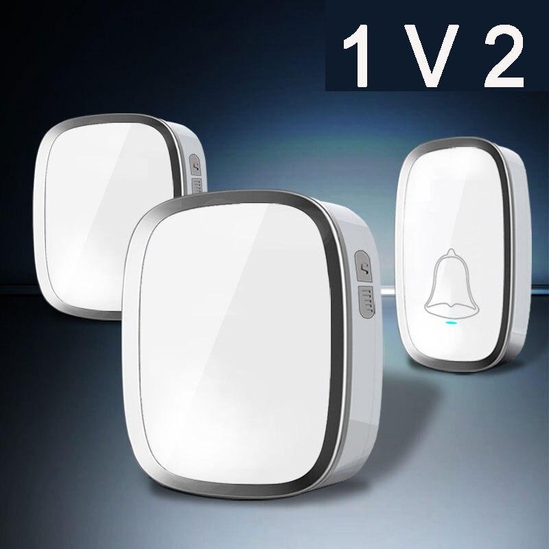 Black/White Waterproof Wireless DoorBell EU/US Plug with 1 Outdoor Transmitter+2 Indoor Receiver Door Bell Battery Not Include цена