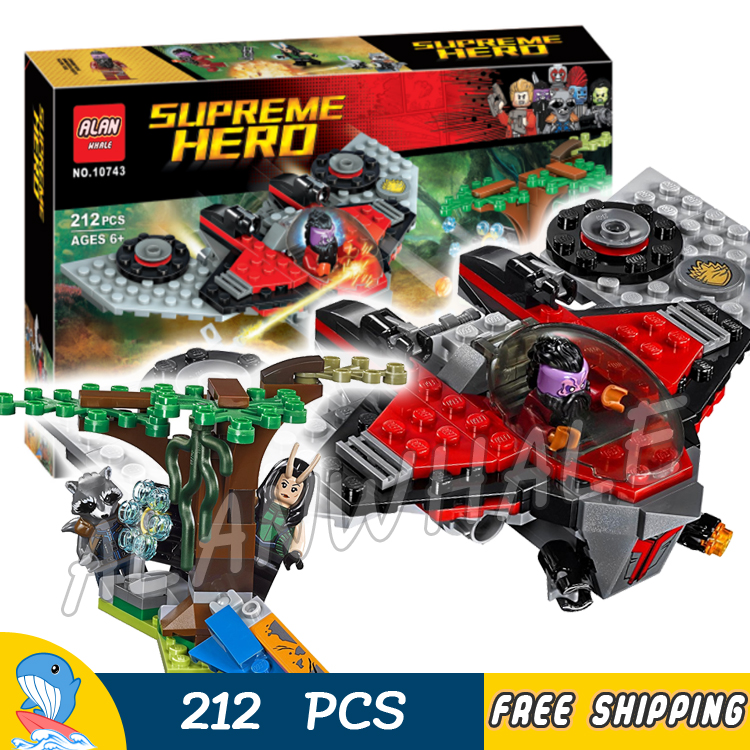 212pcs Super Heroes Guardians of the Galaxy Ravager Attack M-ship 10743 Model Building Blocks Toys Bricks Compatible With lego compatible with lego batman 70914 model 07081 super heroes bane toxic truck attack figure building blocks bricks toys
