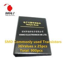 36 tipos x25pcs comumente usado smd transistor sortimento kit sortido livro de amostra