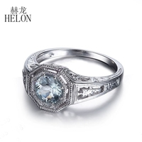HELON 6mm Round Natural Aquamarine Ring Art Deco 925 Sterling Silver Engagement Wedding Ring Fine Jewelry Vintage Antique Style