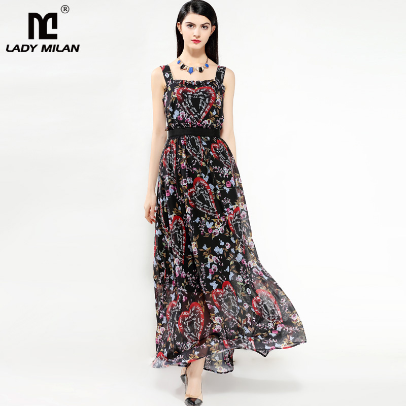 New Arrival 2018 Summer Womens Spaghetti Straps Printed Ruffles High Street Fashion Casual Holiday Long Dresses