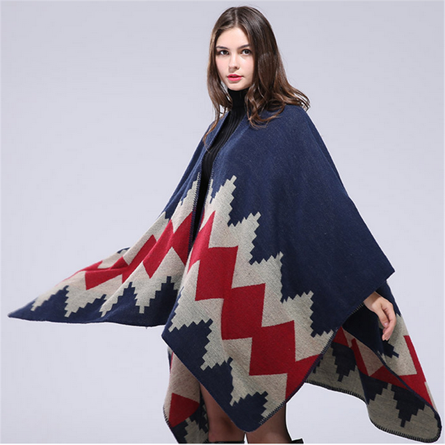 008b2e5b2 2016 New Women Poncho Spinning Cashmere Wool Scarf Personalized Poncho Cape  Block Check Blanket Poncho