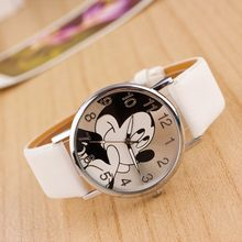 New Watch Women Cartoon Mickey Mouse Pattern Fashion Quartz Watches Casual Leather Clock Girls Kids Wristwatch Relogio Feminino(China)