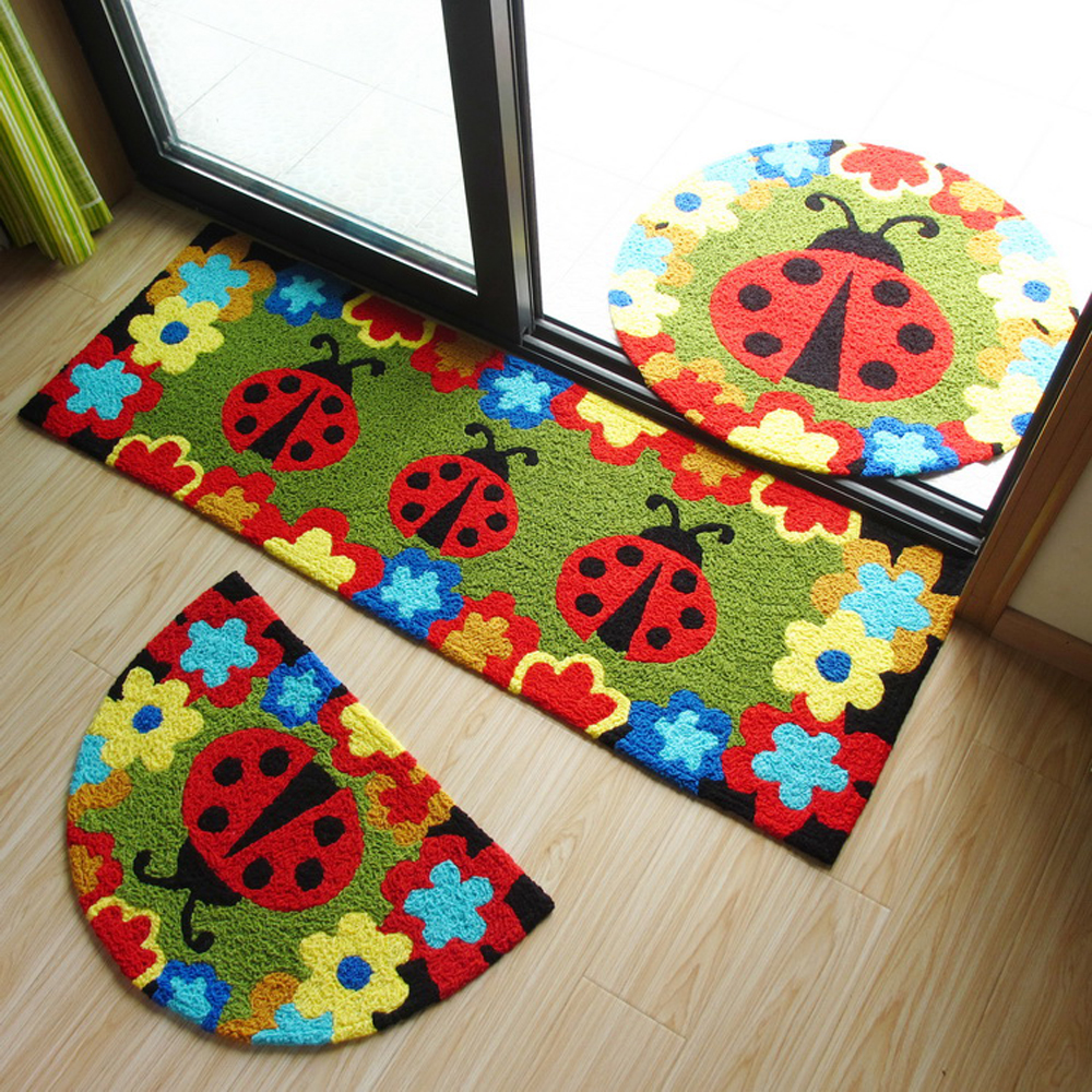 Pastoral Handmade Knitting Embroidery Doormats Rug Flowers and Beetles Pattern Cartoon Kids/Child Room Carpet Bedroom Floor Mat