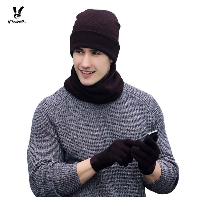 a9ee5dcc3cc VBIGER 4pcs Women Men Winter Warm Knitted Hat Skullies Beanies Set Unisex  Bonnet with Scarf Gloves Fashion Cap Shawl Mittens