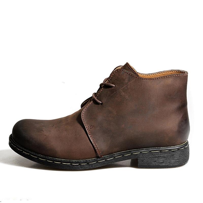 Bottes en cuir véritable Vintage britannique hommes bottes en cuir marron Martin pour homme automne hiver bottes de travail imperméables chaussures - 3