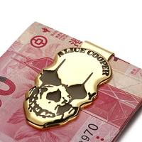 Modern Luxury Brand New 2017 Copper Skull Icon Money Clip Slim Pocket Purse Cash Organizer Clamp Men Women Wallet