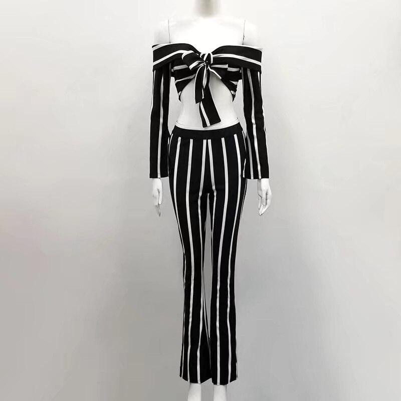 Manica Brevi Fiocco Donne Senza Pantaloni Set Elegante 2 Flare Nero Delle Lunga A Tops Partito Spalline Pezzi Strisce Sexy UpMSzV
