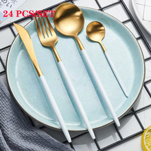 Spklifey Dinnerware Set Stainless Steel Cutlery Sets Black 24 PCS Silverware Fork Spoon Knife High Quality