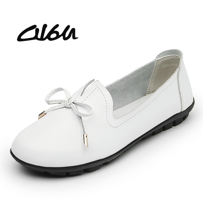 O16U Women Ballerina Flats Shoes Slip on ballet Flat Genuine Leather Knot Round Toe Rubber Sole Flat Moccains Ladies White BlackO16U Women Ballerina Flats Shoes Slip on ballet Flat Genuine Leather Knot Round Toe Rubber Sole Flat Moccains Ladies White Black