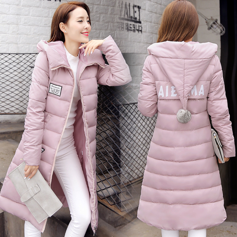 ФОТО 2016 Winter Women's Cotton Slim Long Coat Hooded Parka Jackets Coats Overcoat Winter Jacket Women Womens Parka Coats Women Coats