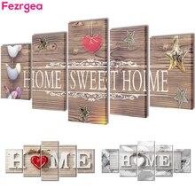 """Fezrgea 5D TỰ LÀM Tranh Gắn Đá """"Home Sweet Home"""" Full Tròn Khoan Nhiều hình Kết Hợp Thêu Hoa Khảm Nhà trang trí"""
