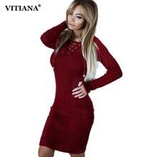 Vitiana Для женщин тонкий свитер повседневные платья женские осень-зима черный, белый цвет с длинным рукавом длиной до колен Bodycon трикотажные вечерние платье