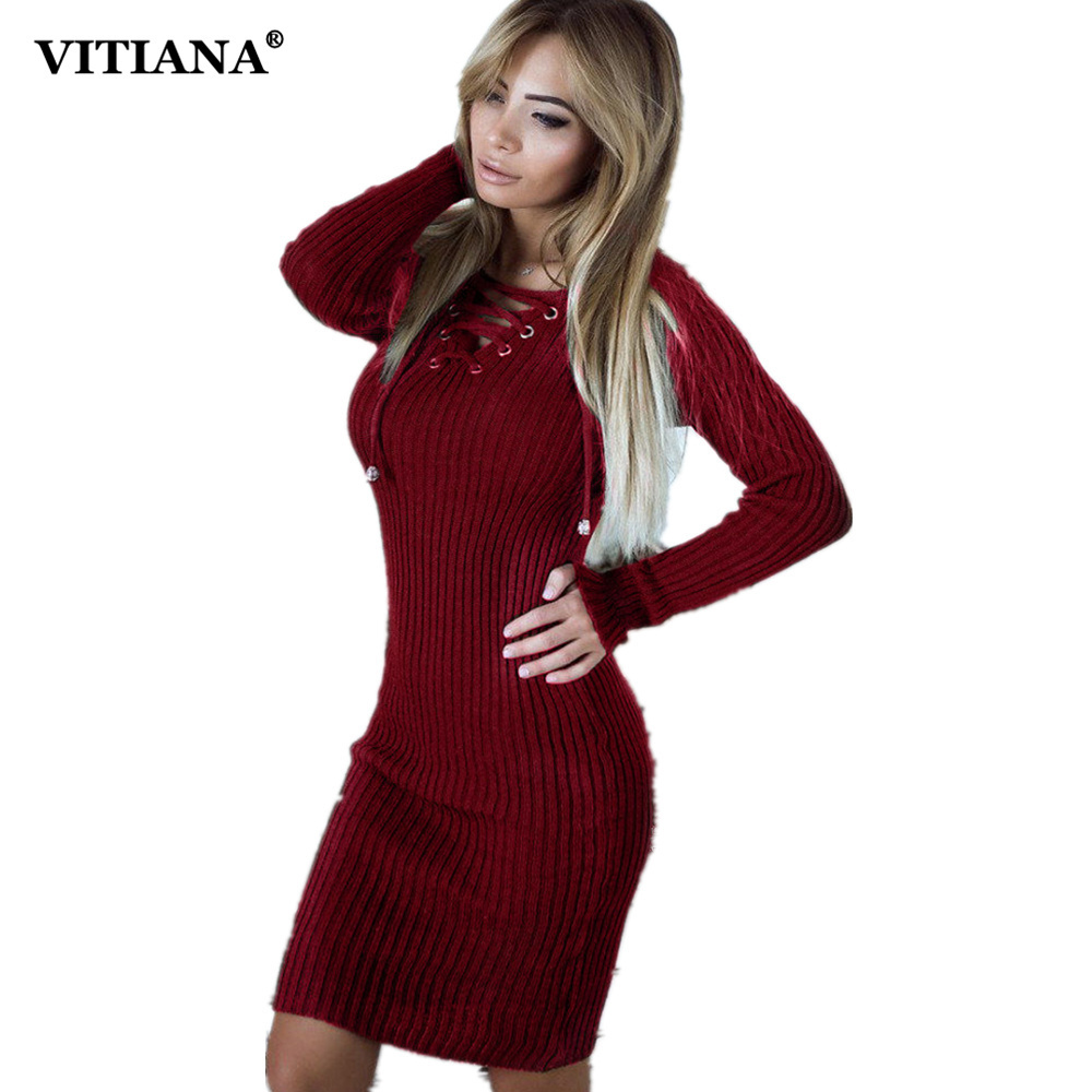 VITIANA Women Thin Sweater Casual Dress Female Autumn Winter Black White Long Sleeve Knee-length Bodycon Knitted Party Dress