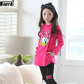 2016 Girls 2pcs Shirt Pant Suit Spring Autumn Children Girl Casual Long Sleeve Character T-shirt Pant Clothing Suit 3Y-7Y