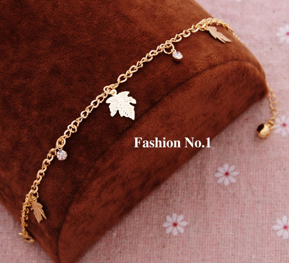 New Fashion Popular Girl Plating Gold-color Metal Crystal Bracelets & Bangles Charm Chain Leaf Bracelets Jewelry For Women