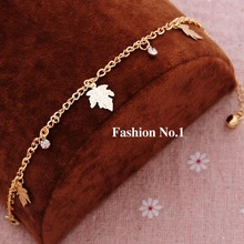 New Fashion Popular Girl Plating Gold-color Metal Crystal Bracelets & Bangles Charm Chain Leaf Bracelets Jewelry For Women